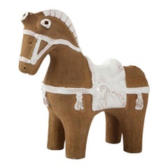Aldo Londi Bitossi Horse, Ceramic, Brown and White