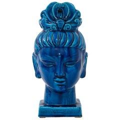 Aldo Londi Bitossi Kwan Yin Blue Bust, Ceramic, Buddha, Signed