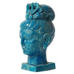 Aldo Londi Bitossi Kwan Yin Buddha, Ceramic, Blue, Signed