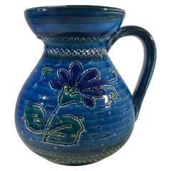 Aldo Londi Bitossi, Midcentury Rimini Blue Ceramic Candleholder Incised Floral