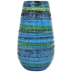 Aldo Londi Bitossi Rimini Blue Glazed Ceramic Ovoid Large Vase