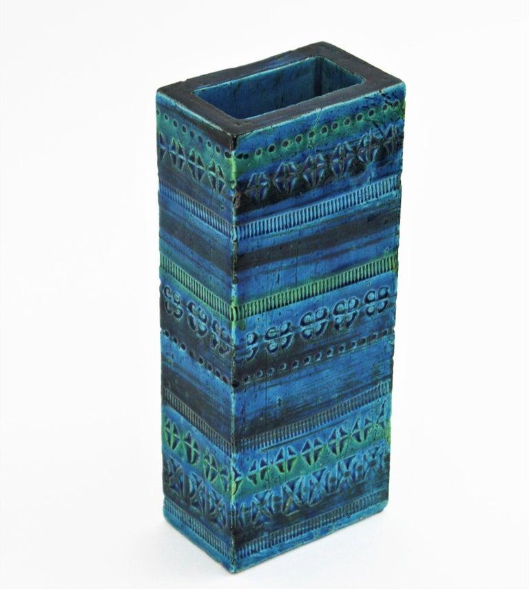 Aldo Londi Bitossi Rimini Blue Glazed Ceramic Rectangular Vase For Sale 3
