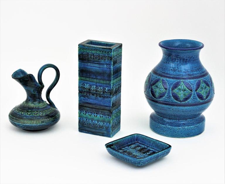 Aldo Londi Bitossi Rimini Blue Glazed Ceramic Rectangular Vase For Sale 4