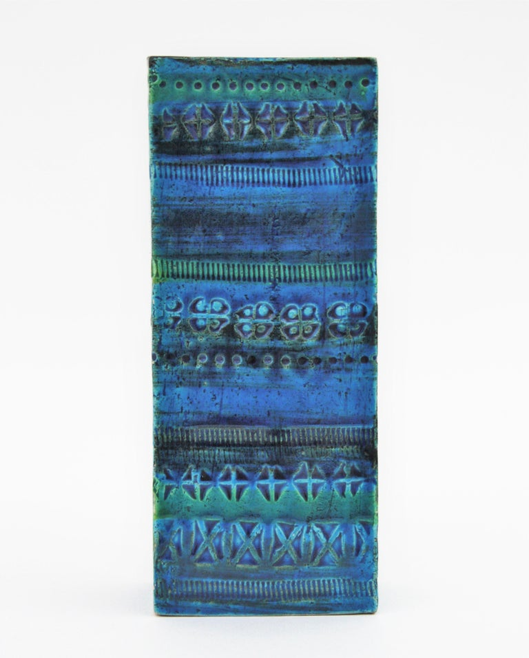 Aldo Londi Bitossi Rimini Blue Glazed Ceramic Rectangular Vase For Sale 5