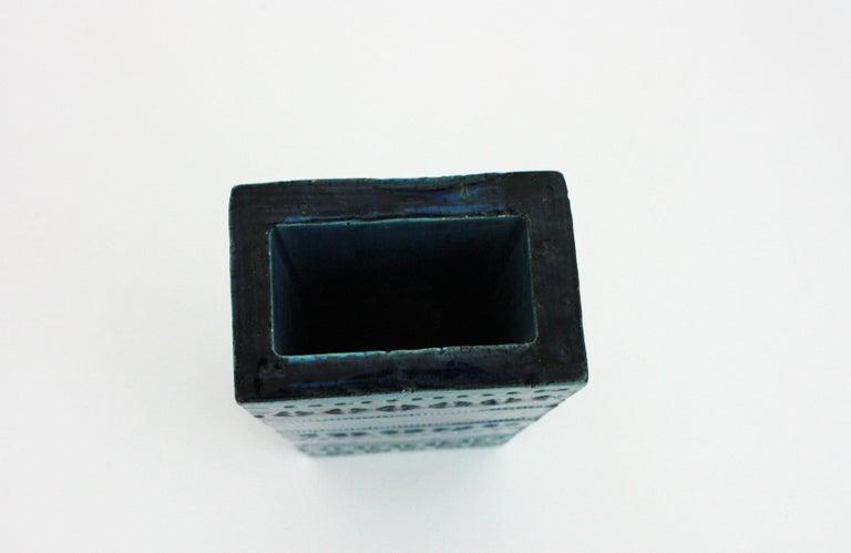 Aldo Londi Bitossi Rimini Blue Glazed Ceramic Rectangular Vase For Sale 6