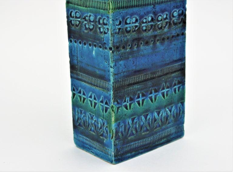 Aldo Londi Bitossi Rimini Blue Glazed Ceramic Rectangular Vase For Sale 7