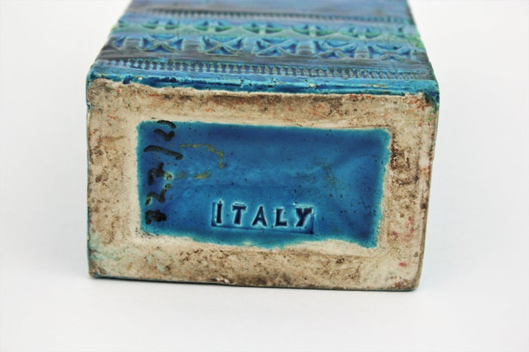 Aldo Londi Bitossi Rimini Blue Glazed Ceramic Rectangular Vase For Sale 9