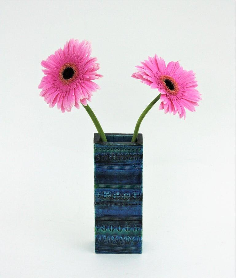 Aldo Londi Bitossi Rimini Blue Glazed Ceramic Rectangular Vase For Sale 10
