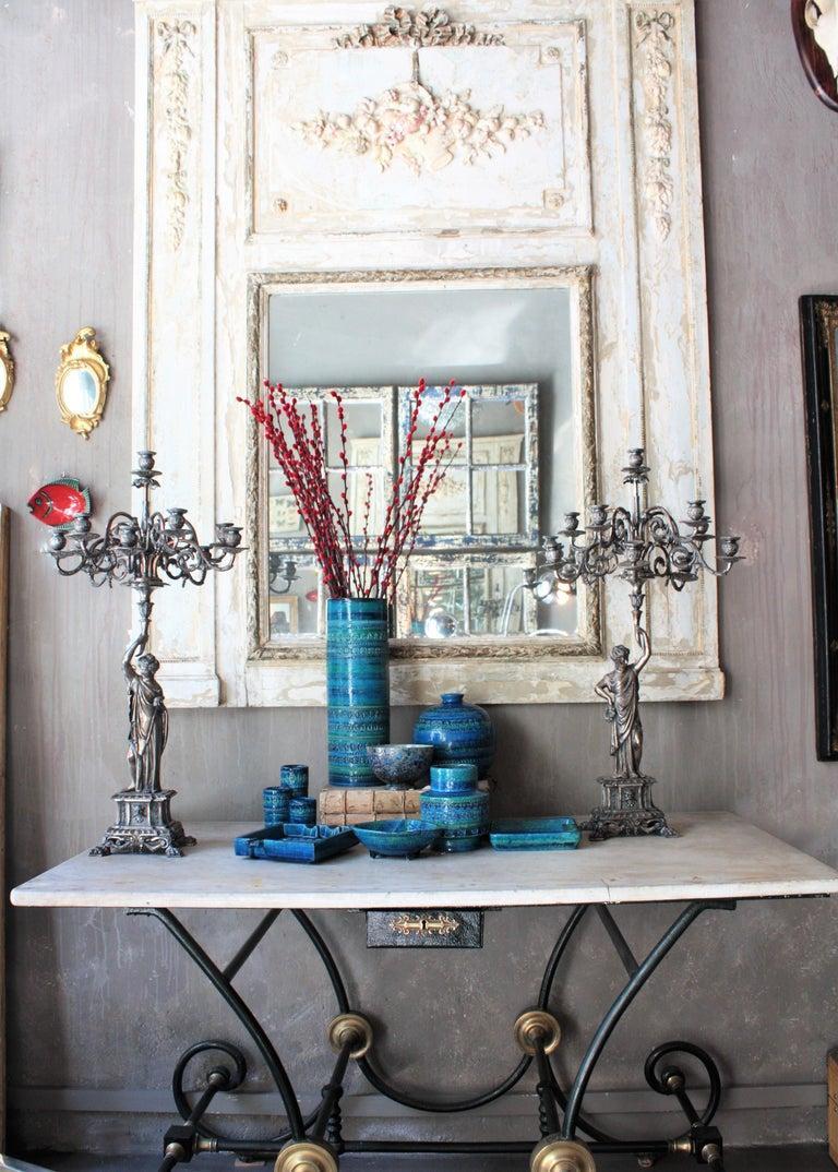 Aldo Londi Bitossi Rimini Blue Glazed Ceramic Rectangular Vase For Sale 11