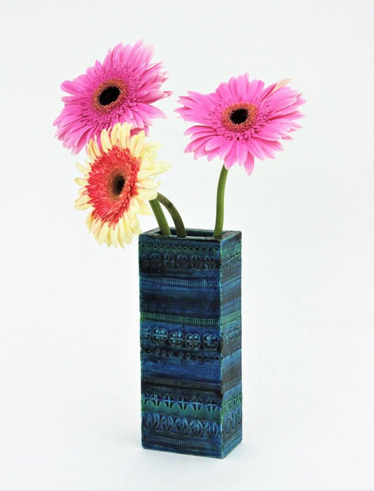 Mid-Century Modern Aldo Londi Bitossi Rimini Blue Glazed Ceramic Rectangular Vase For Sale