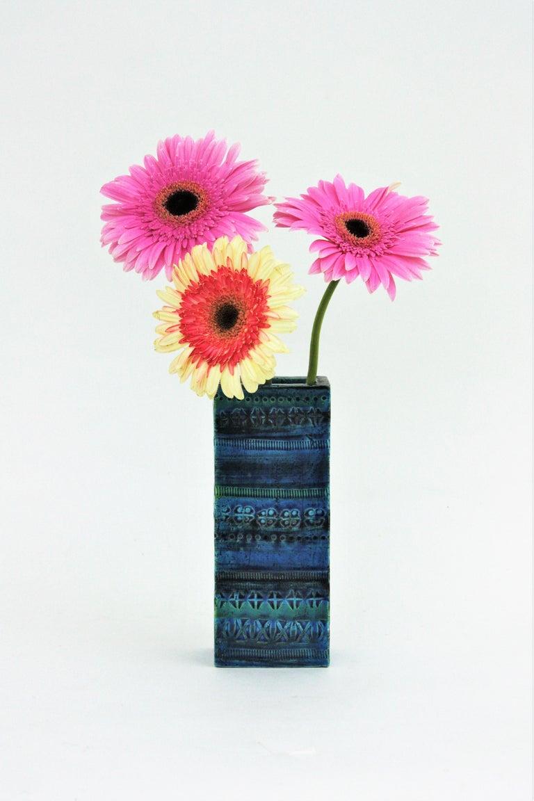 Aldo Londi Bitossi Rimini Blue Glazed Ceramic Rectangular Vase In Good Condition For Sale In Barcelona, ES