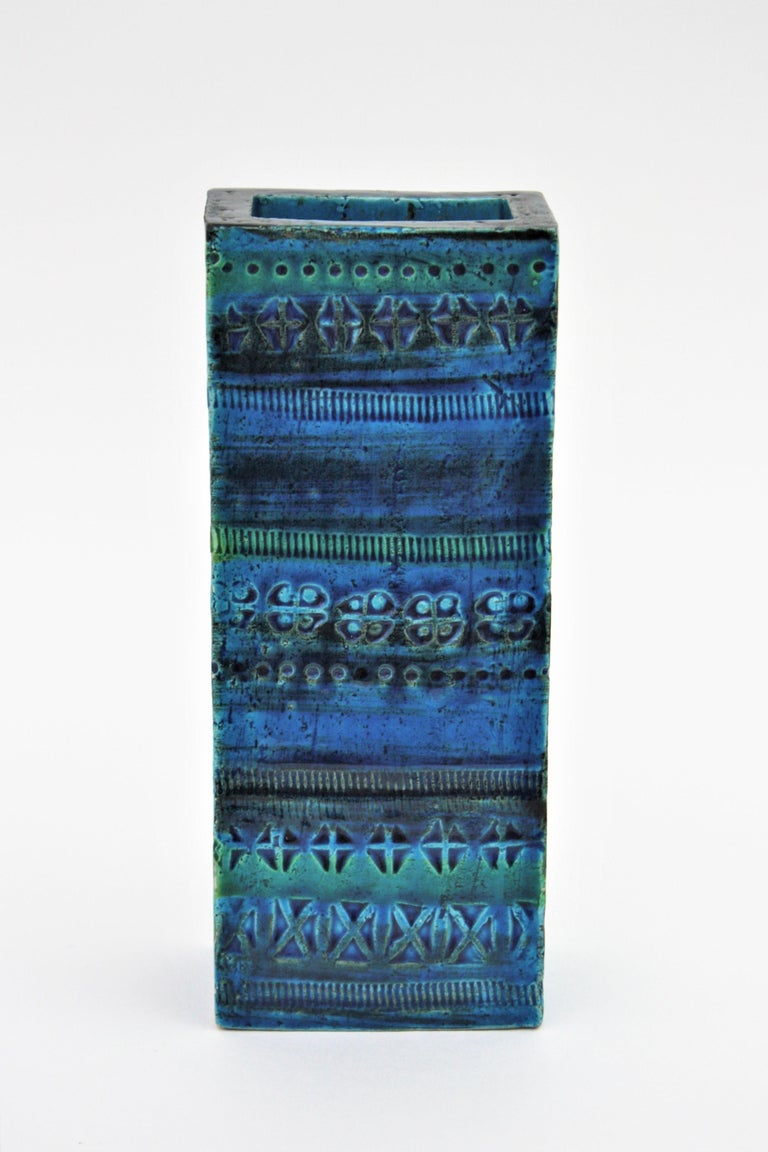 Terracotta Aldo Londi Bitossi Rimini Blue Glazed Ceramic Rectangular Vase For Sale