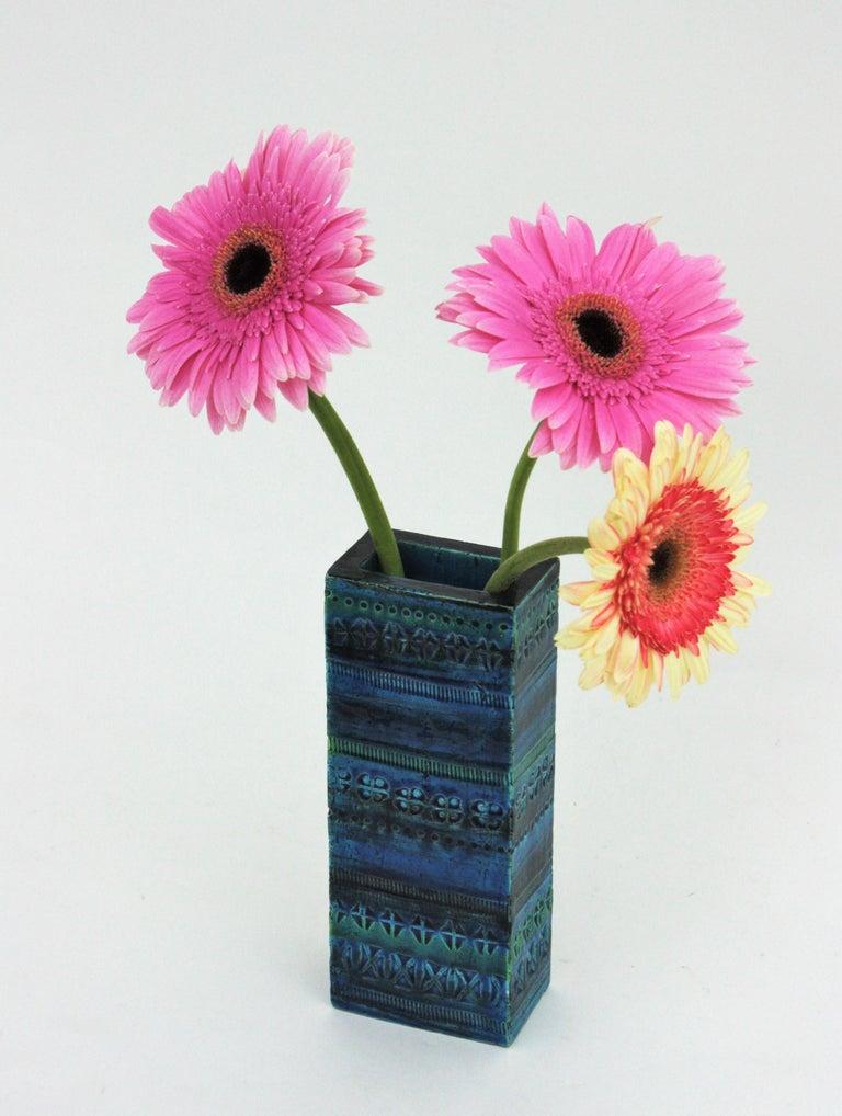 Aldo Londi Bitossi Rimini Blue Glazed Ceramic Rectangular Vase For Sale 1