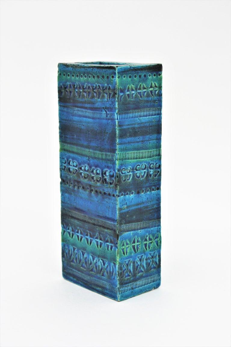 Aldo Londi Bitossi Rimini Blue Glazed Ceramic Rectangular Vase For Sale 2