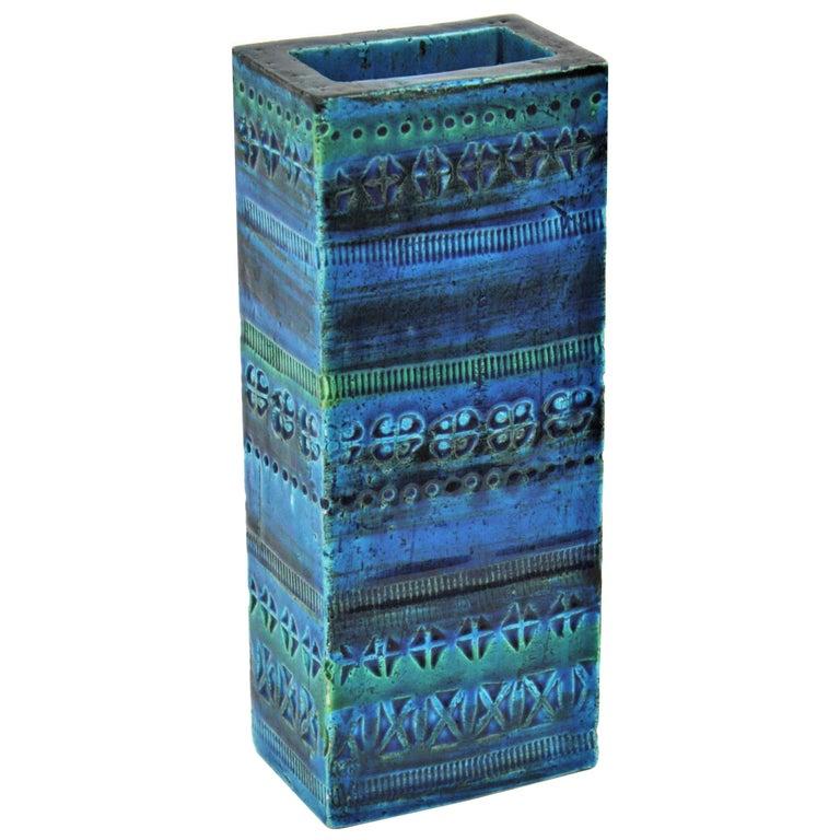 Aldo Londi Bitossi Rimini Blue Glazed Ceramic Rectangular Vase For Sale