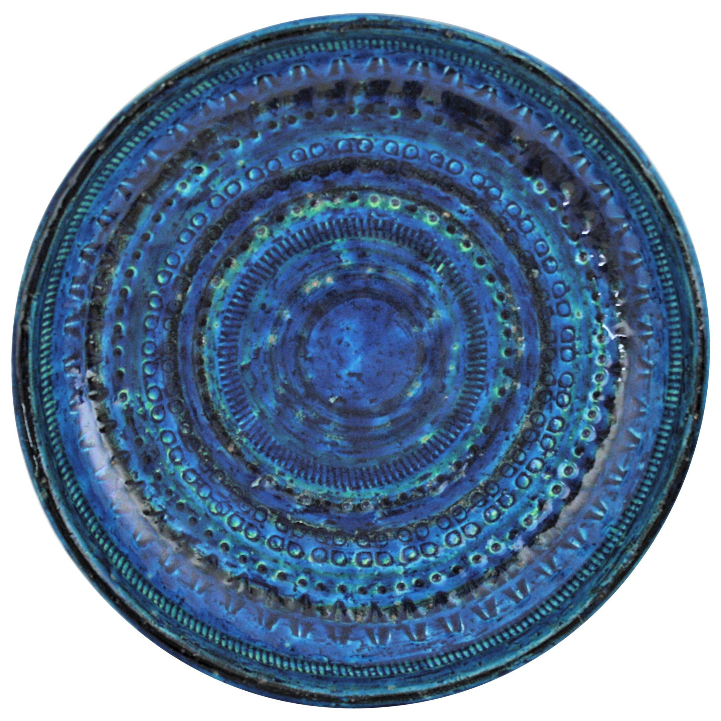 Aldo Londi Bitossi Rimini Blue Glazed Ceramic Round Dish or Bowl, Italy, 1950s
