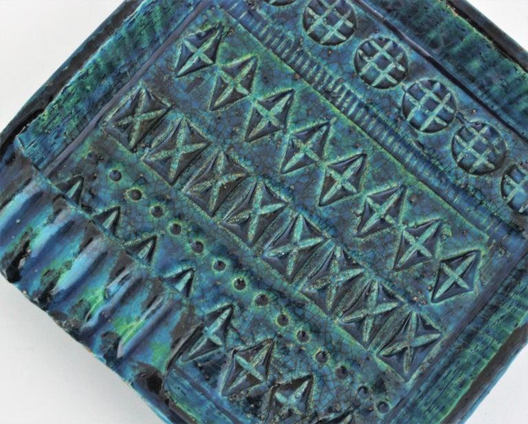 Aldo Londi Bitossi Rimini Blue Glazed Ceramic Square Ashtray, Italy, 1960s For Sale 5