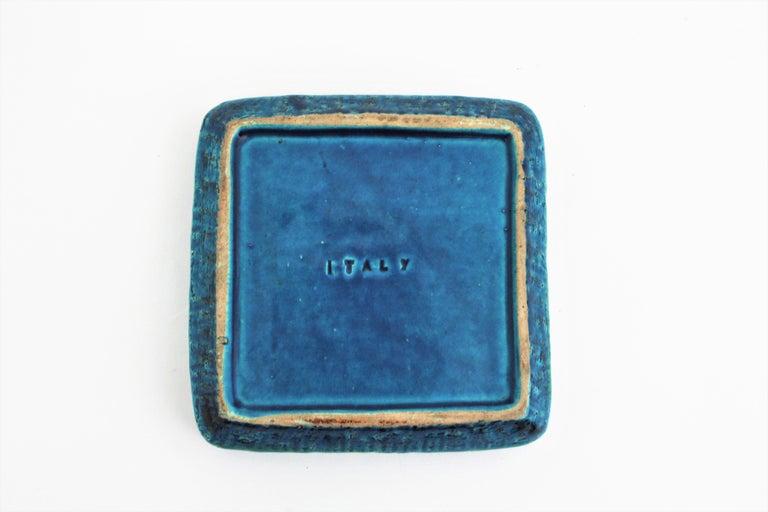 Aldo Londi Bitossi Rimini Blue Glazed Ceramic Square Ashtray, Italy, 1960s For Sale 8