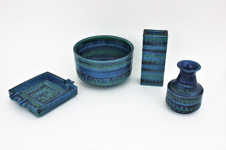 Aldo Londi Bitossi Rimini Blue Glazed Ceramic Square Ashtray, Italy, 1960s For Sale 9