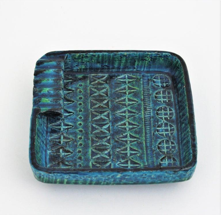 Mid-Century Modern Aldo Londi Bitossi Rimini Blue Glazed Ceramic Square Ashtray, Italy, 1960s For Sale