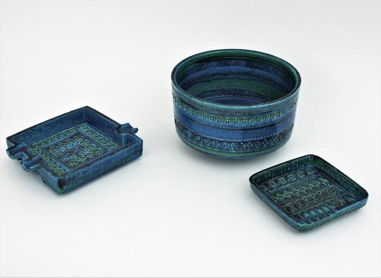 Italian Aldo Londi Bitossi Rimini Blue Glazed Ceramic Square Ashtray, Italy, 1960s For Sale
