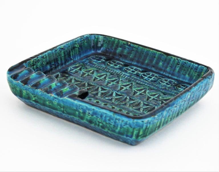Aldo Londi Bitossi Rimini Blue Glazed Ceramic Square Ashtray, Italy, 1960s In Good Condition For Sale In Barcelona, ES