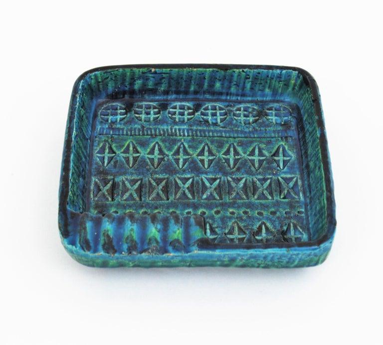 Aldo Londi Bitossi Rimini Blue Glazed Ceramic Square Ashtray, Italy, 1960s For Sale 1