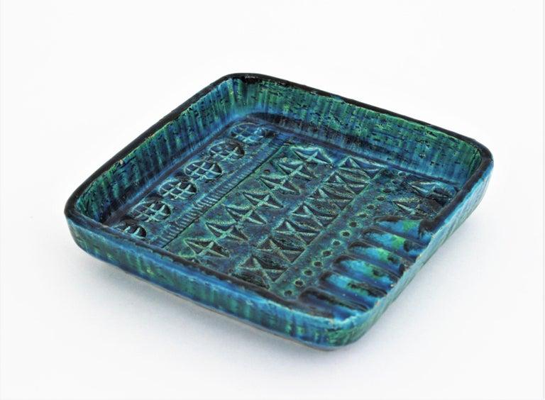 Aldo Londi Bitossi Rimini Blue Glazed Ceramic Square Ashtray, Italy, 1960s For Sale 2
