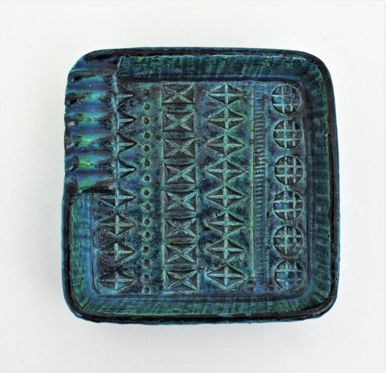 Aldo Londi Bitossi Rimini Blue Glazed Ceramic Square Ashtray, Italy, 1960s For Sale 3