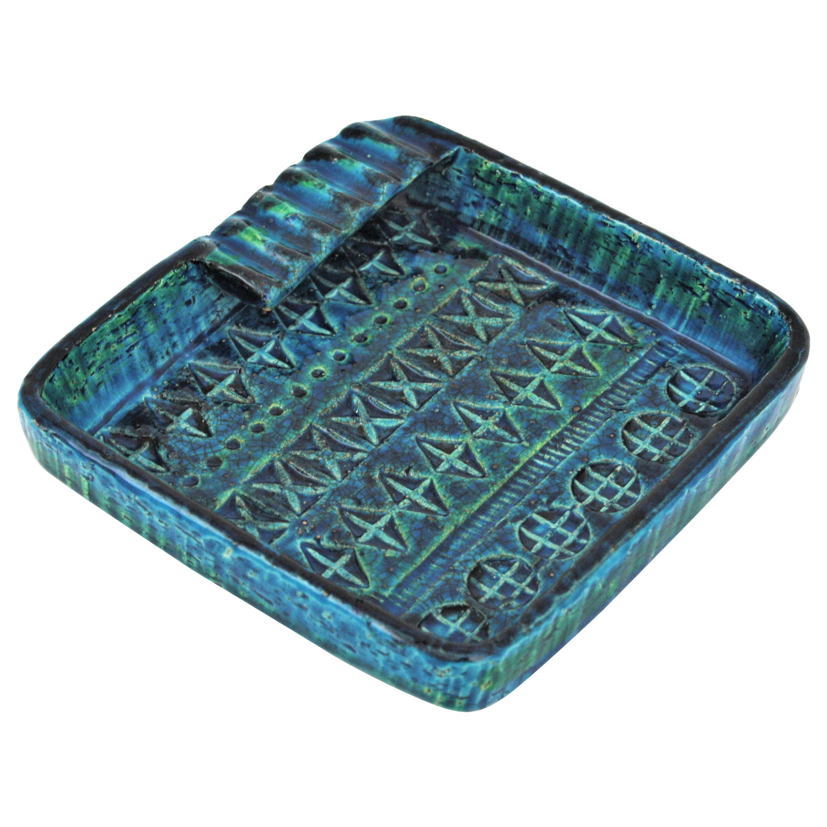 Aldo Londi Bitossi Rimini Blue Glazed Ceramic Square Ashtray, Italy, 1960s