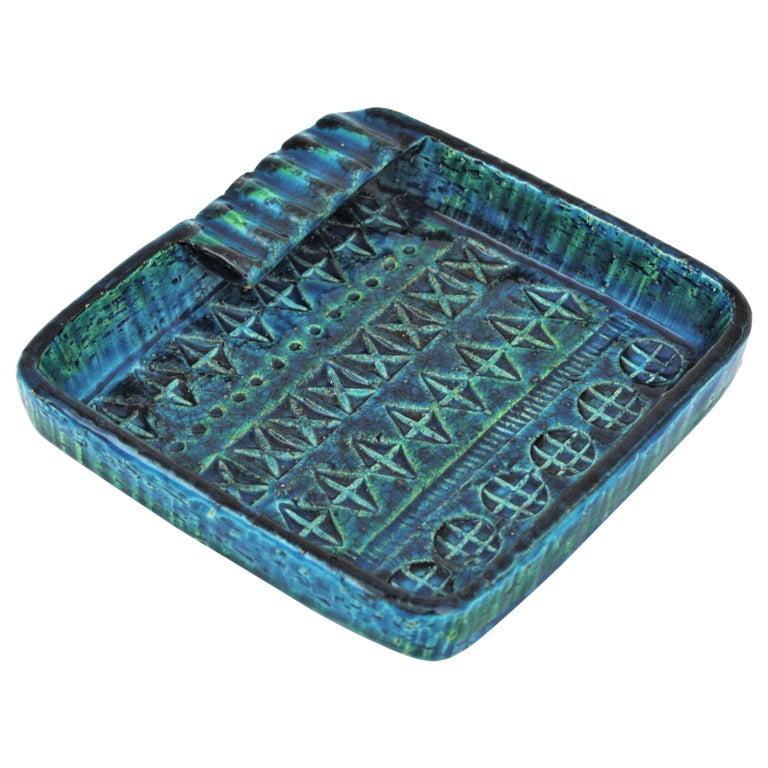 Aldo Londi Bitossi Rimini Blue Glazed Ceramic Square Ashtray, Italy, 1960s For Sale