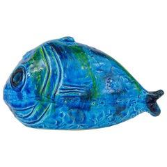 Aldo Londi Bitossi Rimini Blue Glazed Fish Sculpture Figurine, Italy, 1950s