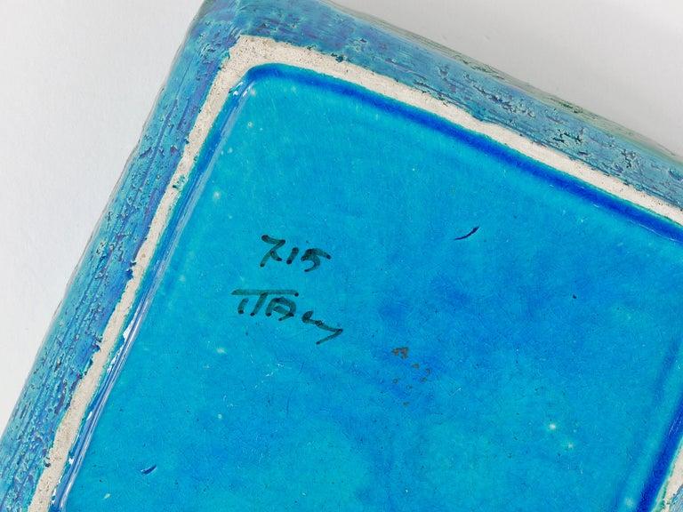 Aldo Londi Bitossi Rimini Blue Glazed Square Midcentury Ashtray, Italy, 1950s For Sale 4