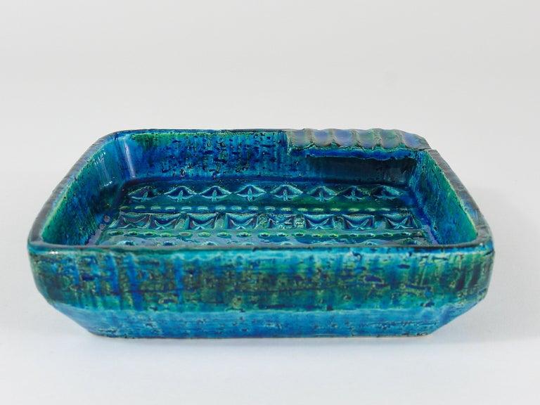 Aldo Londi Bitossi Rimini Blue Glazed Square Midcentury Ashtray, Italy, 1950s For Sale 5