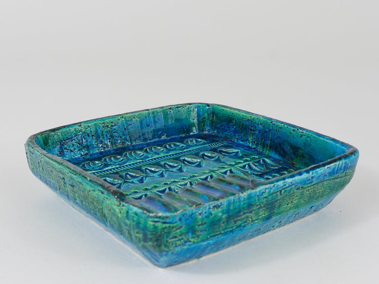 Aldo Londi Bitossi Rimini Blue Glazed Square Midcentury Ashtray, Italy, 1950s For Sale 6