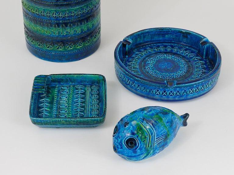 Mid-Century Modern Aldo Londi Bitossi Rimini Blue Glazed Square Midcentury Ashtray, Italy, 1950s For Sale