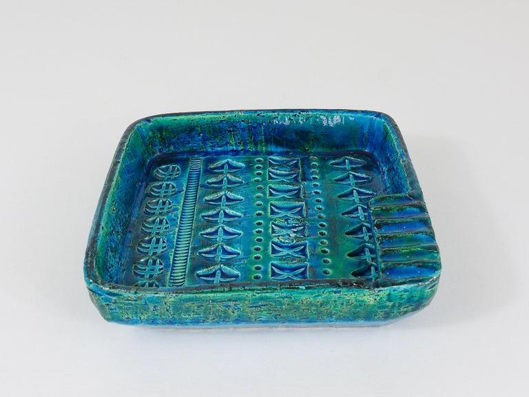 Italian Aldo Londi Bitossi Rimini Blue Glazed Square Midcentury Ashtray, Italy, 1950s For Sale