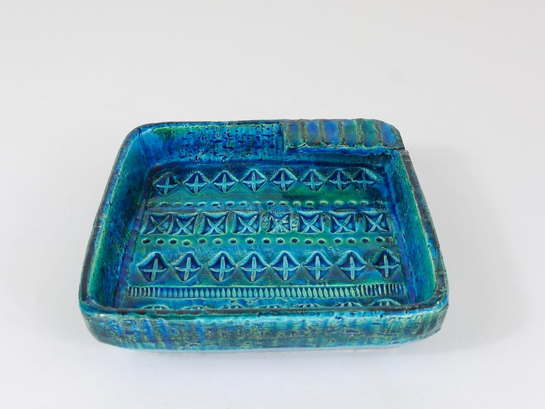Aldo Londi Bitossi Rimini Blue Glazed Square Midcentury Ashtray, Italy, 1950s In Good Condition For Sale In Vienna, AT