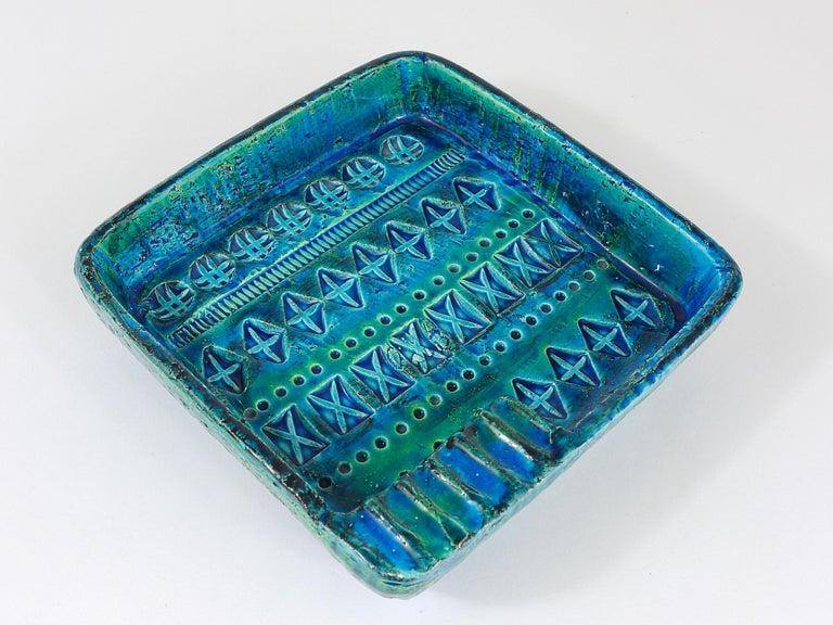 20th Century Aldo Londi Bitossi Rimini Blue Glazed Square Midcentury Ashtray, Italy, 1950s For Sale