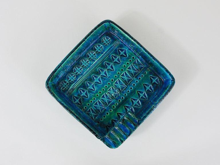 Ceramic Aldo Londi Bitossi Rimini Blue Glazed Square Midcentury Ashtray, Italy, 1950s For Sale