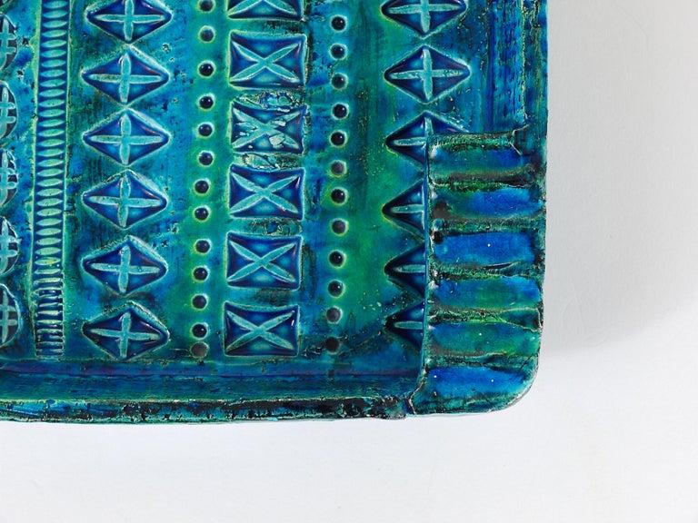 Aldo Londi Bitossi Rimini Blue Glazed Square Midcentury Ashtray, Italy, 1950s For Sale 1
