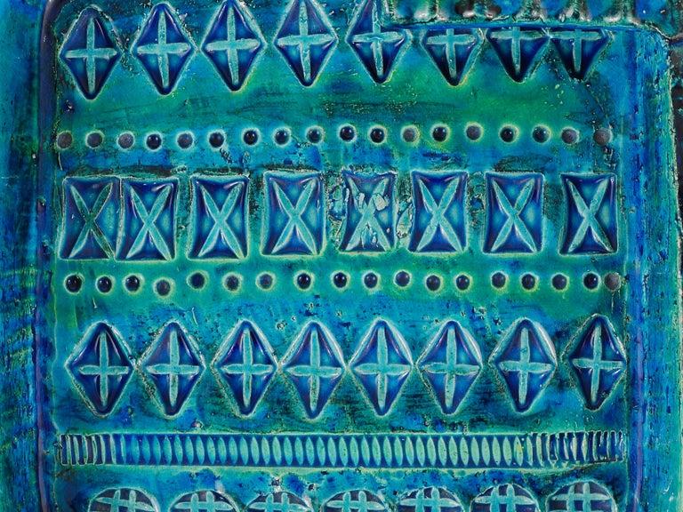 Aldo Londi Bitossi Rimini Blue Glazed Square Midcentury Ashtray, Italy, 1950s For Sale 2