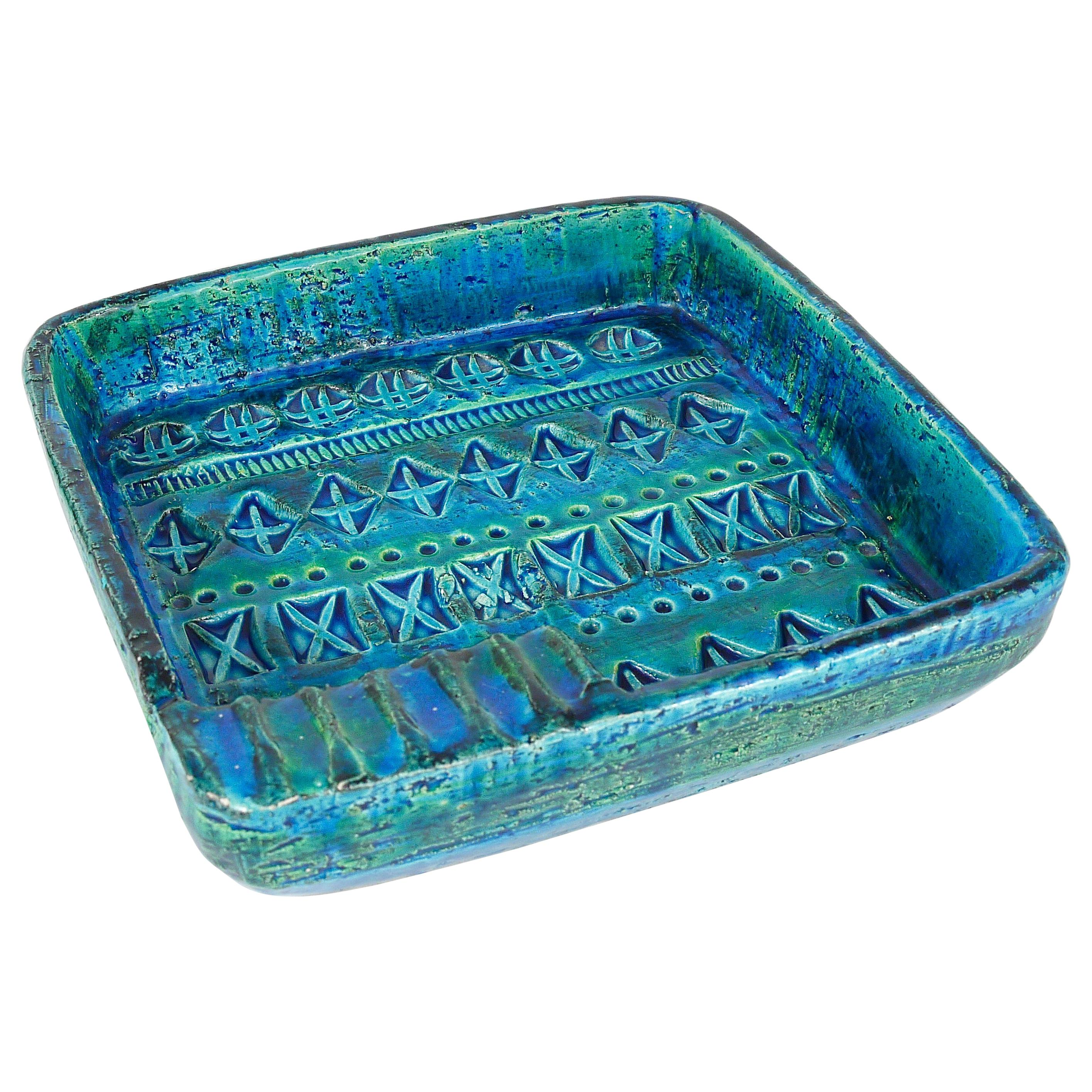 Aldo Londi Bitossi Rimini Blue Glazed Square Midcentury Ashtray, Italy, 1950s