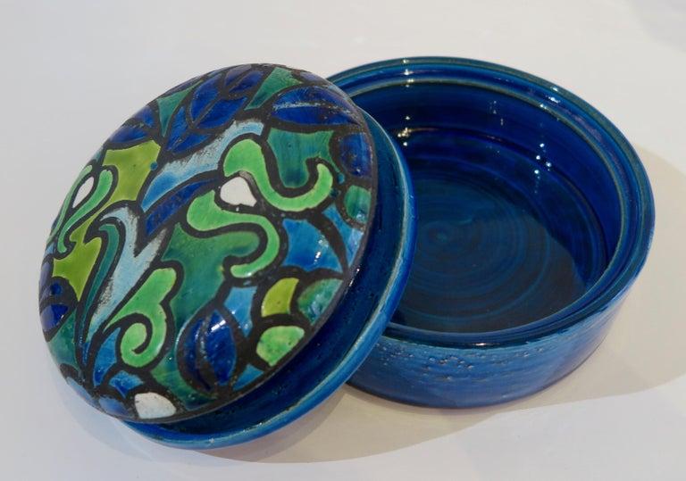 Mid-Century Modern Aldo Londi Bitossi Round Ceramic Box For Sale