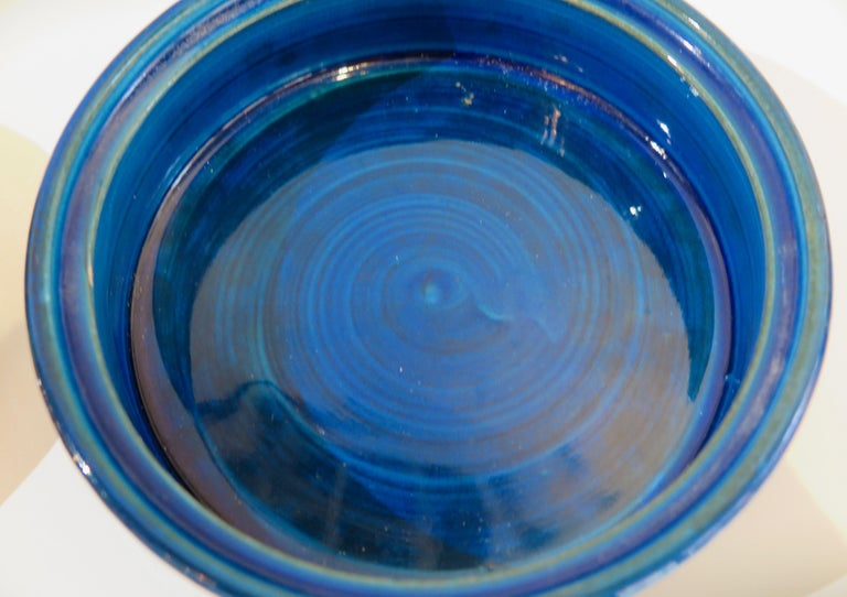 Italian Aldo Londi Bitossi Round Ceramic Box For Sale