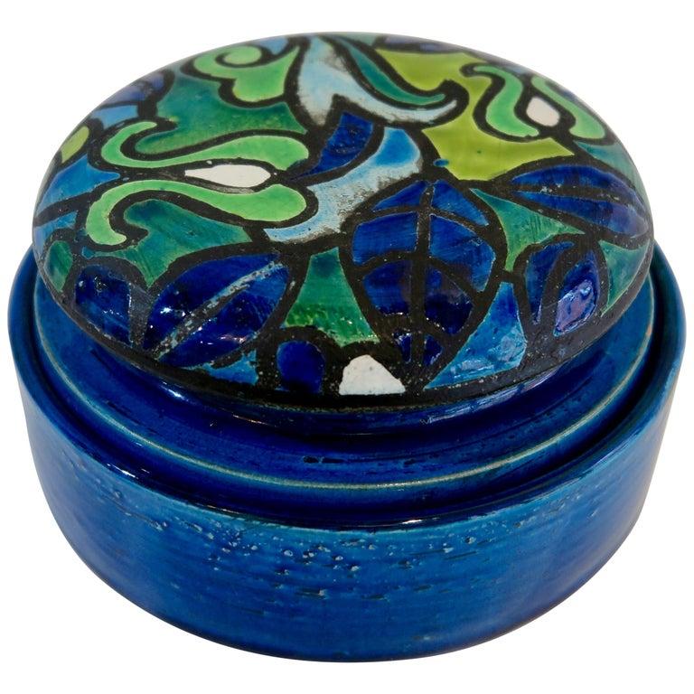 Aldo Londi Bitossi Round Ceramic Box For Sale