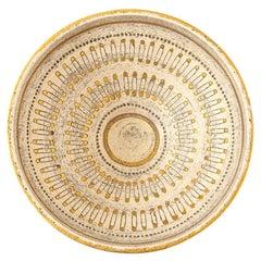 Aldo Londi Bitossi Safety Pin Bowl, Ceramic, Tan and Gold, Signed