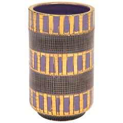 Aldo Londi Bitossi Seta Vase, Ceramic, Gold, Purple and Black, Signed