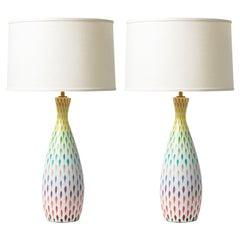 Aldo Londi Bitossi Table Lamps, Ceramic, Multi-Color, Piume, Signed