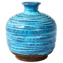 Aldo Londi Bitossi Vase, Ceramic, Blue and Brown